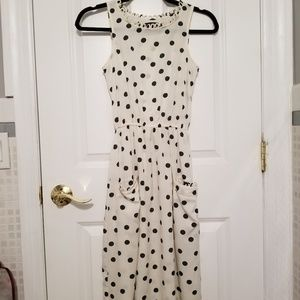 Polkadot Dress with Scalloped Collar and Pockets